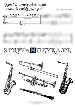Sygnał festiwalu w opolu nuty na instrumenty dęte