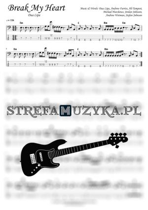 Break My Heart - Dua Lipa - Bass Tab - Gitara Basowa