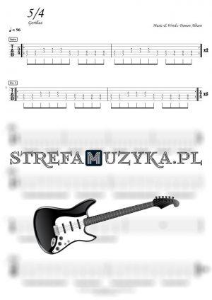 Gorillaz - 5-4 tabulatura gitara chwyty