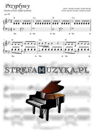Przypływy nuty na pianino i fortepian