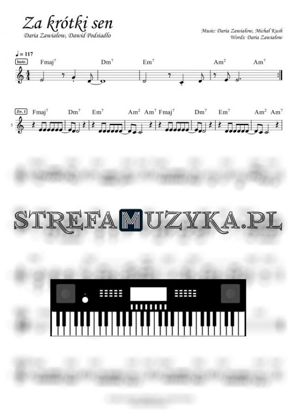 Za krótki sen - Daria Zawiałow, Dawid Podsiadło - Nuty na Keyboard