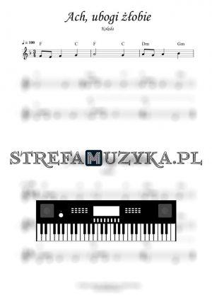 Ach ubogi żłobie nuty na keyboard, pianino