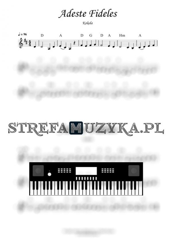 Adeste Fideles nuty na keyboard pianino