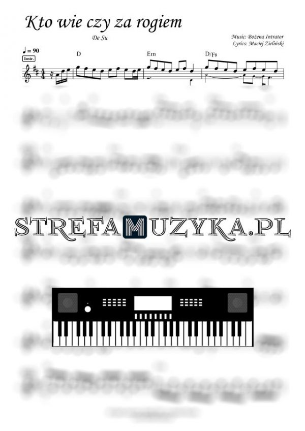 Kto wie czy za rogiem nuty na keyboard pianino