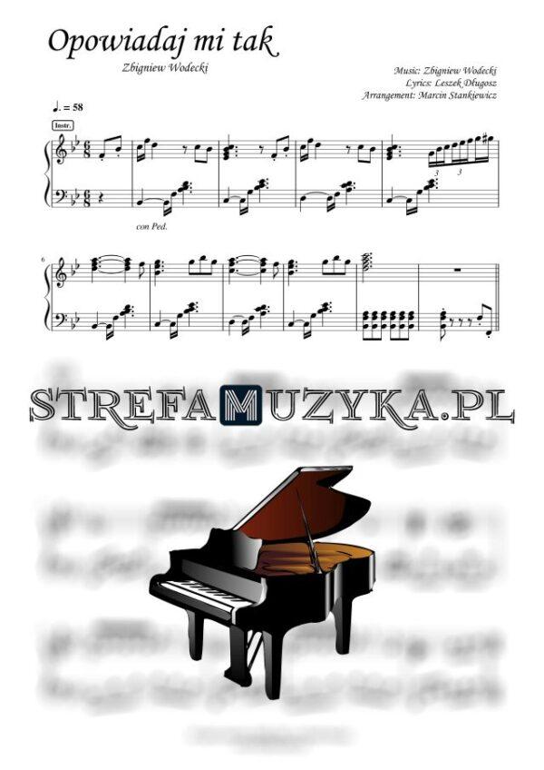 Opowiadaj mi tak Wodecki nuty na pianino, fortepian