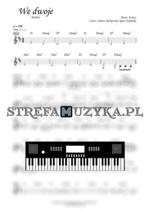 We dwoje Kortez nuty ka pianino, keyboard